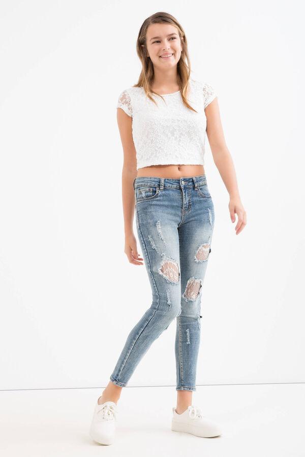T-shirt crop in pizzo Teen | OVS