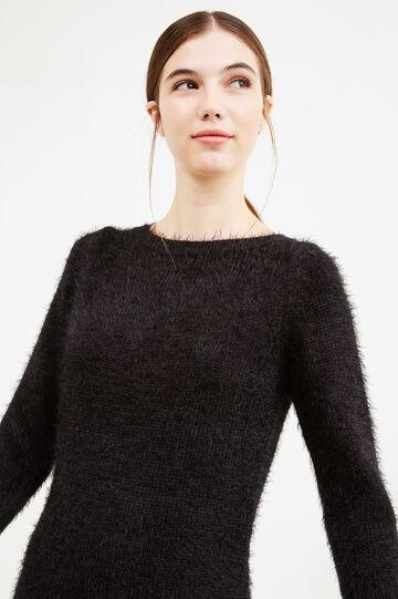 Abito tinta unita lavorato a tricot, Nero, hi-res