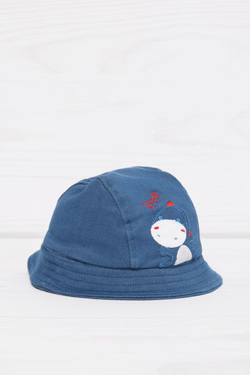 Solid colour cotton hat with embroidery, Denim, hi-res
