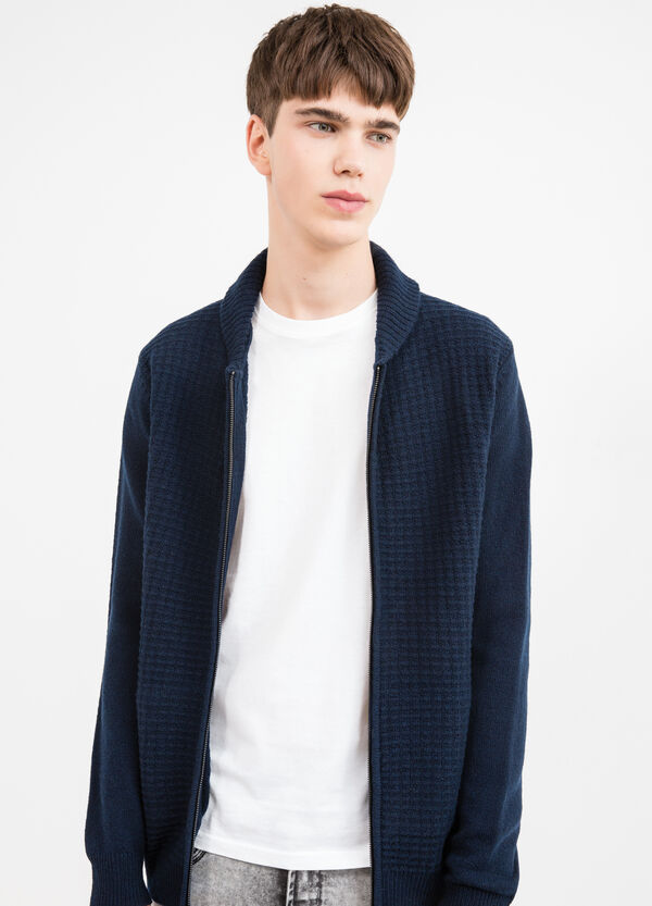 Knitted cardigan in 100% wool with high collar. | OVS
