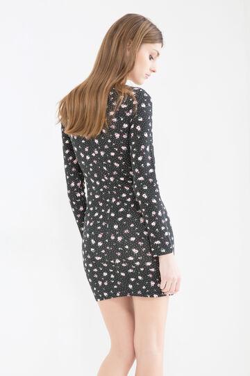 Short patterned dress in stretch cotton, Black, hi-res