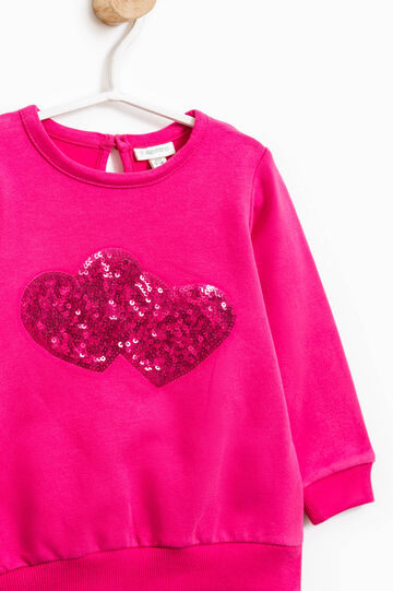 Stretch cotton hoodie with sequins, Pink, hi-res