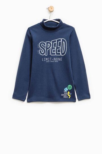 Printed 100% cotton turtleneck jumper, Blue, hi-res