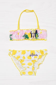 Stretch bikini with Minnie Mouse print, White/Yellow, hi-res