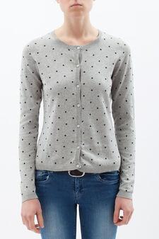 Button cardigan in 100% cotton., Grey, hi-res