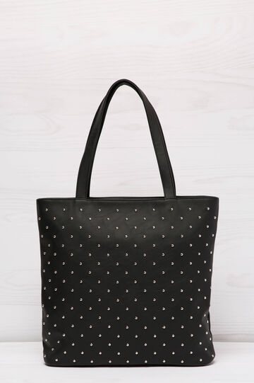 Shopping bag similpelle con borchie, Nero, hi-res