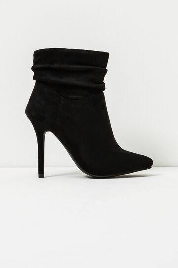 Solid colour suede ankle boots., Black, hi-res