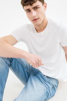 Jeans straight fit cuciture a contrasto, Lavaggio chiaro, hi-res