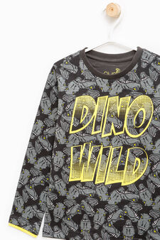 Dinosaur pattern cotton T-shirt, Dark Grey, hi-res