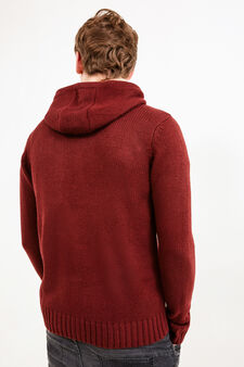 Solid colour hooded cardigan, Red, hi-res