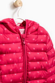 Star print down jacket with hood, Fuchsia, hi-res