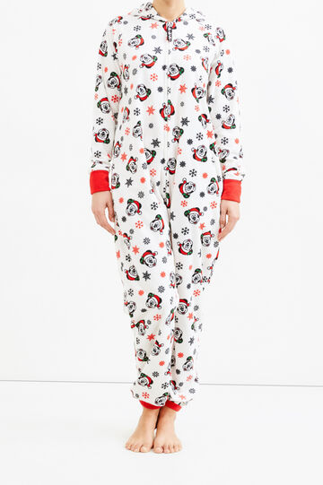 Large fleece jumpsuit with Mickey Mouse print, Cream White, hi-res