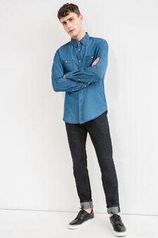 Camicia casual di jeans con taschini, Blu denim, hi-res