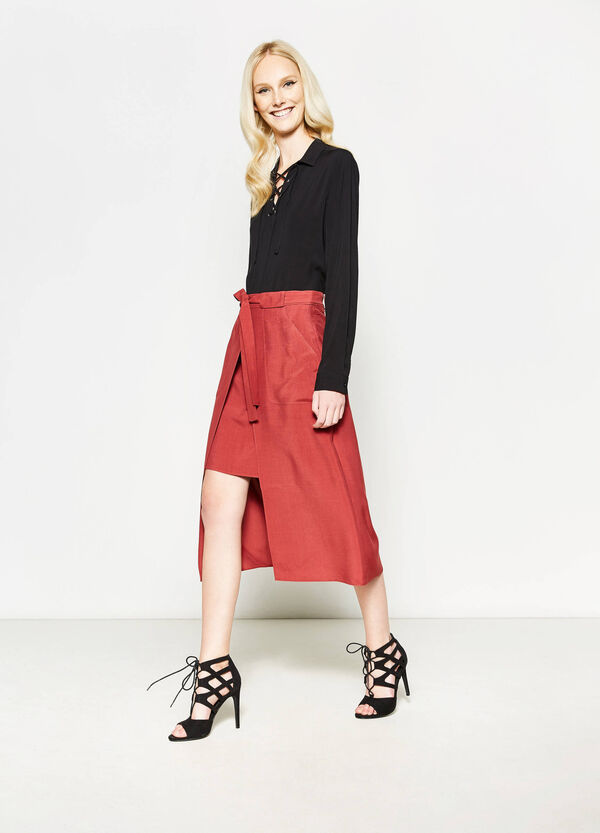 Longuette skirt with split | OVS