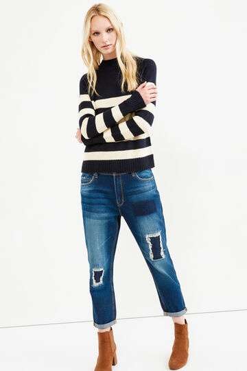 Used effect boyfriend jeans, Dark Blue, hi-res