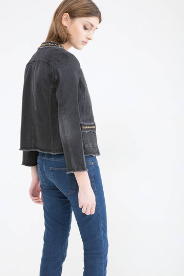 Stretch denim jacket with inserts, Black, hi-res