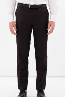 Slim fit trousers with crease, Black, hi-res