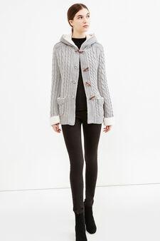 Cardigan tricot a trecce con alamari, Grigio, hi-res