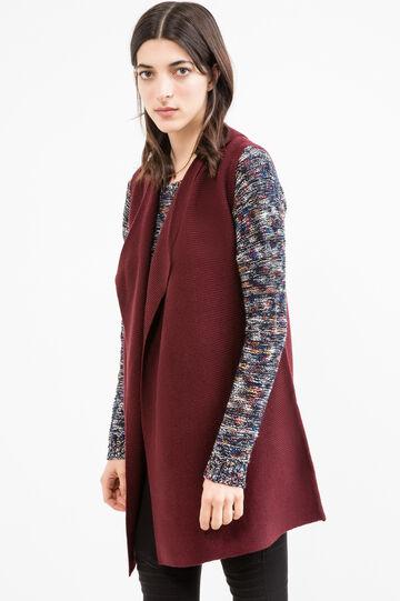 Ribbed sleeveless long cardigan, Aubergine, hi-res