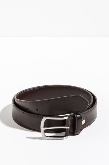 Belt with polished rectangular buckle, Dark Brown, hi-res