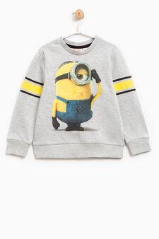 100% cotton sweatshirt with Minions print, Grey Marl, hi-res