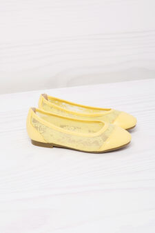 Ballerina flats with lace, Yellow, hi-res