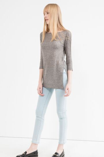 Long ribbed pullover with splits, Grey, hi-res