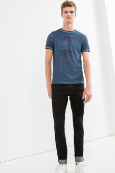 Faded effect cotton T-shirt with seam, Blue, hi-res