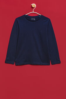 100% cotton T-shirt with long sleeves, Navy Blue, hi-res