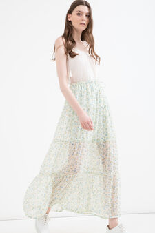 Long skirt with floral print, Cream White, hi-res