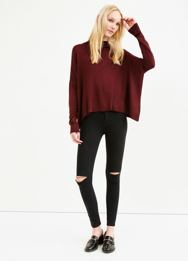 Solid colour viscose pullover with high neck | OVS
