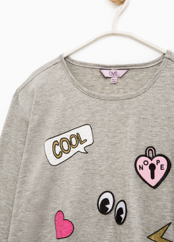 Viscose T-shirt with patches and sequins | OVS
