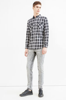 Casual slim-fit check shirt, Black/Grey, hi-res