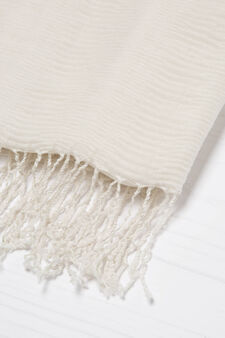 Solid colour pleated scarf, Chalk White, hi-res