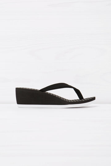 Polka dot pattern thong sandals, Black/White, hi-res