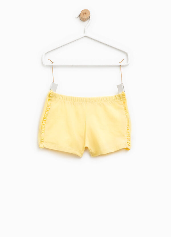 Stretch cotton shorts with flounce | OVS