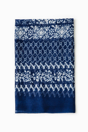 Damask print scarf, White/Blue, hi-res