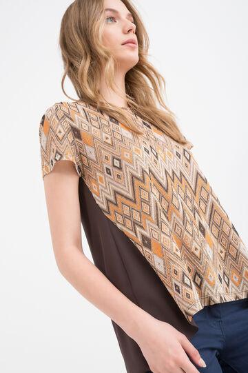 T-shirt stretch fantasia geometrica, Multicolor, hi-res