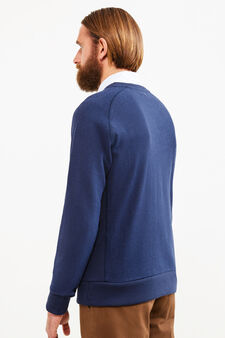 Rumford crew-neck sweatshirt with raglan sleeves, Dark Blue, hi-res