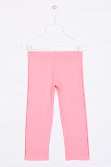 Stretch cotton leggings with diamanté motif, Fuchsia, hi-res
