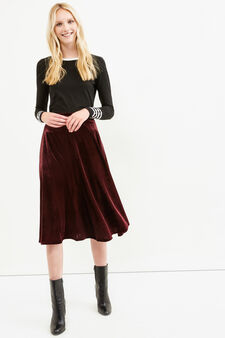 Solid colour velvet longuette skirt, Claret Red, hi-res