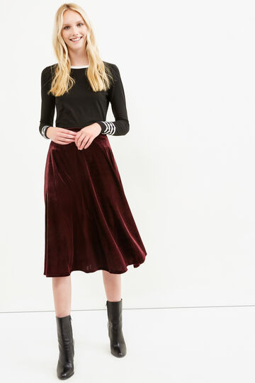Solid colour velvet longuette skirt, Claret Red, hi-res