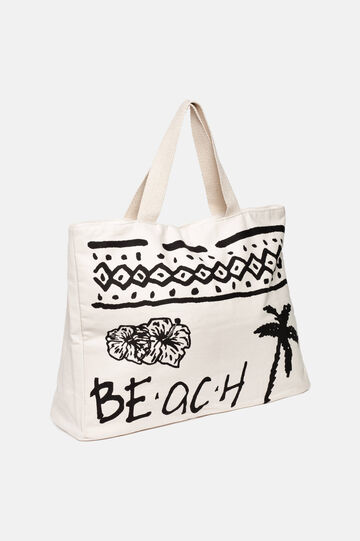 Beach bag with contrasting decorations, White/Black, hi-res