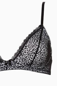 Triangle bra with animal print, White/Black, hi-res