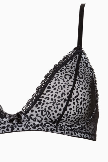 Triangle bra with animal print, White/Black, hi-res