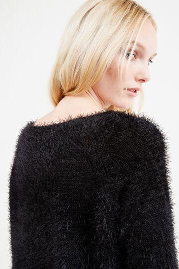 Solid colour shaggy pullover, Black, hi-res