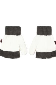 Fingerless mitten gloves, Pink, hi-res