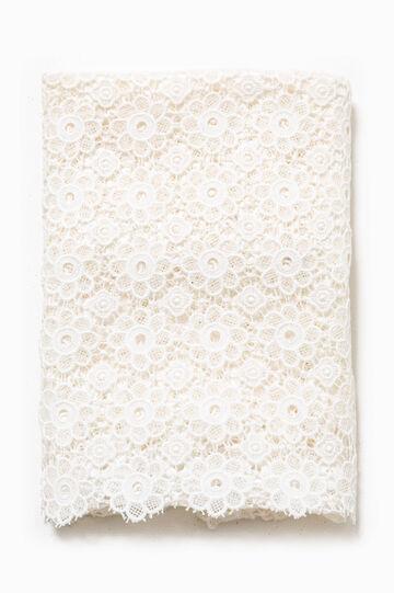 Scarf in 100% cotton lace, Cream White, hi-res