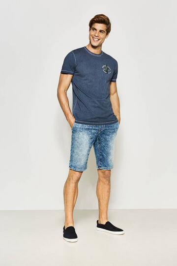 Slim-fit denim Bermuda shorts with drawstring