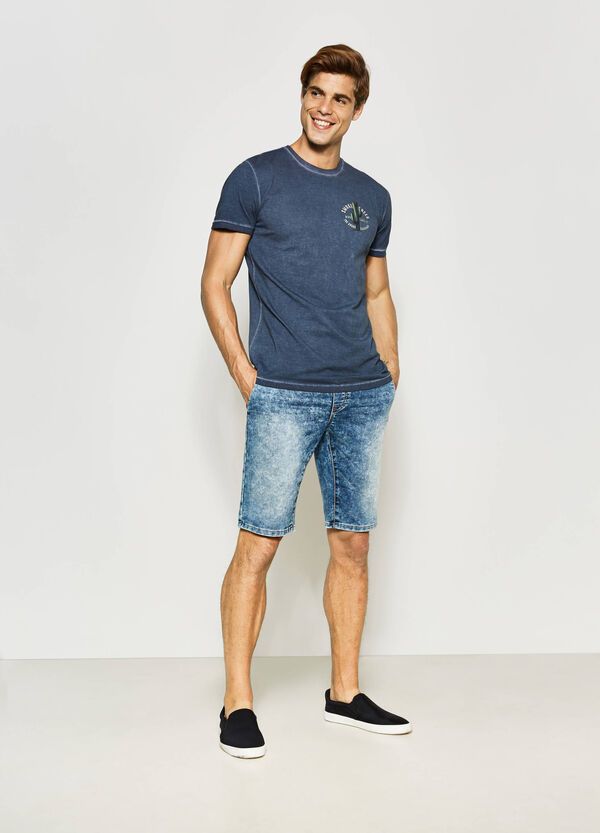Slim-fit denim Bermuda shorts with drawstring | OVS
